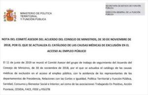 carta aclarativa de función publica sobre acceso a oposicion